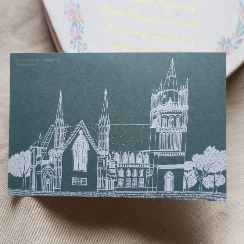 Travel Scenery Singapore - St. Andrew's Church / Illustration Postcard