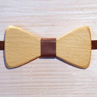 Natural Wood Bow Tie - beech + brown leather (gift / wedding / newcomers / formal occasions)