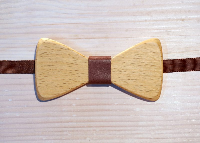 Natural Log Bow Tie - Beech + Brown Leather (Gift / Wedding / Newcomer / Official Occasion)