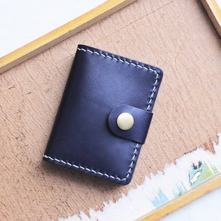 Folding 3 Positions 1 Organ Position Business Card Holder Indigo NAVY Sewn Leather Material Bag Card
