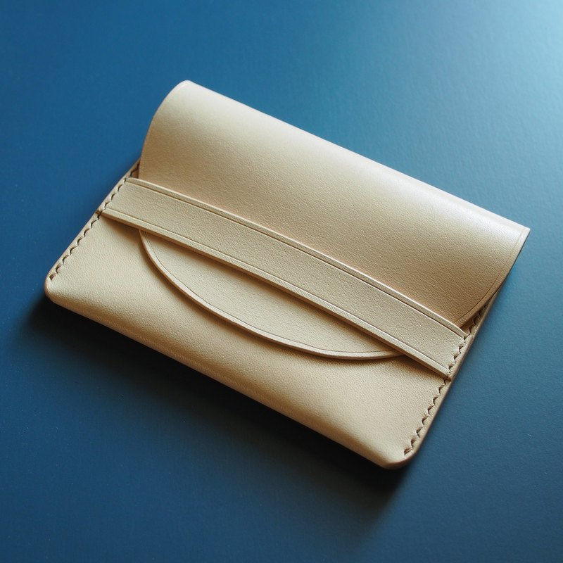 Handmade leather card pouch natural veg tan leather