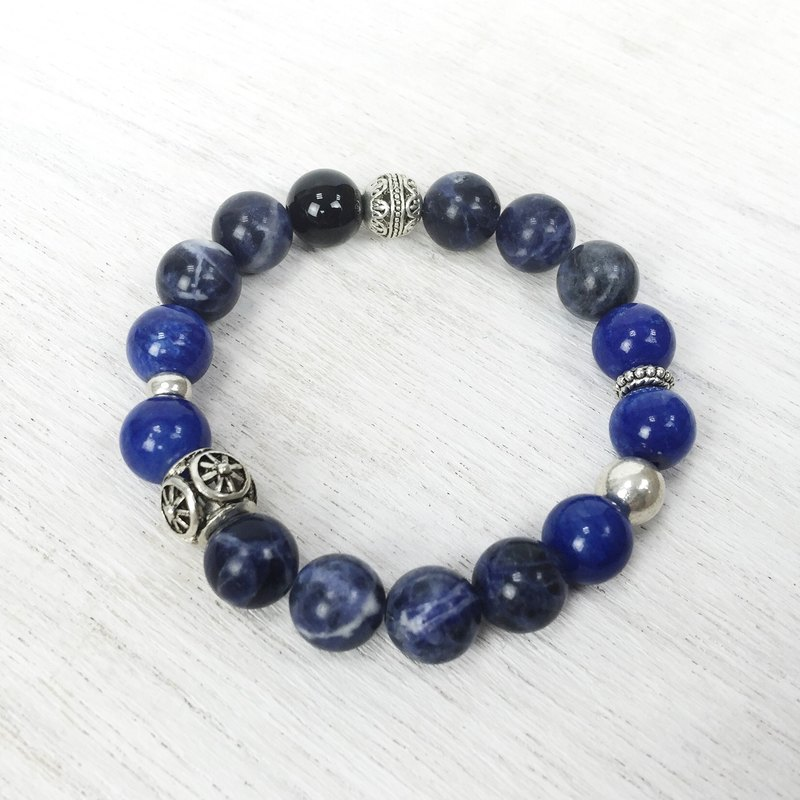 [岚 fog] Natural Stone Beads Bracelet Wanna Stone Blue Lapis Lazuli Custom Metal Bracelet