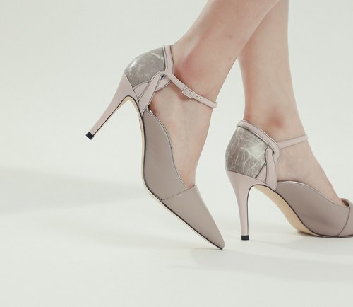 Decorative lines around the ankle leather high heels naked powder