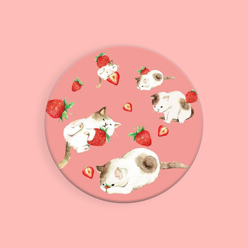 Cat & Strawberry / Fruit Series / Illustration Round Suction Cup Mat / Exchange Gift