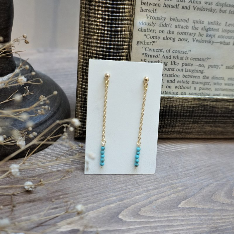 << Raindrops - Turquoise >> Natural stone drop earrings drop chain design (can change ear clips)