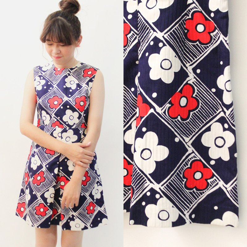 Retro summer pop style flower plaid plaid dark blue sleeveless vintage dress