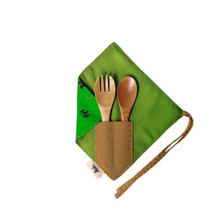 [One corner simple chopstick set] - willing to be a cat slave (green) - cotton cute chopsticks set