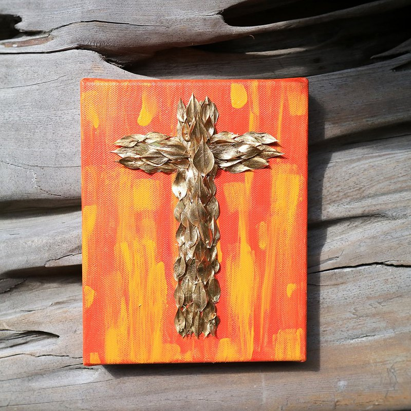 PJ Small Garden* | Dry Flowers. Hand Painted Canvas Cross (Golden Leaf 3) | Thanksgiving Christmas