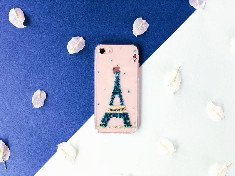 巴黎鐵塔乾花手機殼•艾菲爾鐵塔手壓花手機殼