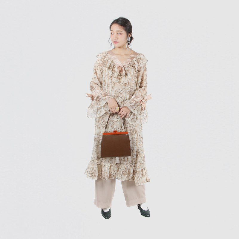 [Egg plant ancient] yajing bodhi print translucent vintage dress