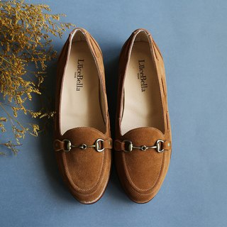 [Owl glasses] 3M waterproof leather flat shoes _ rice brown
