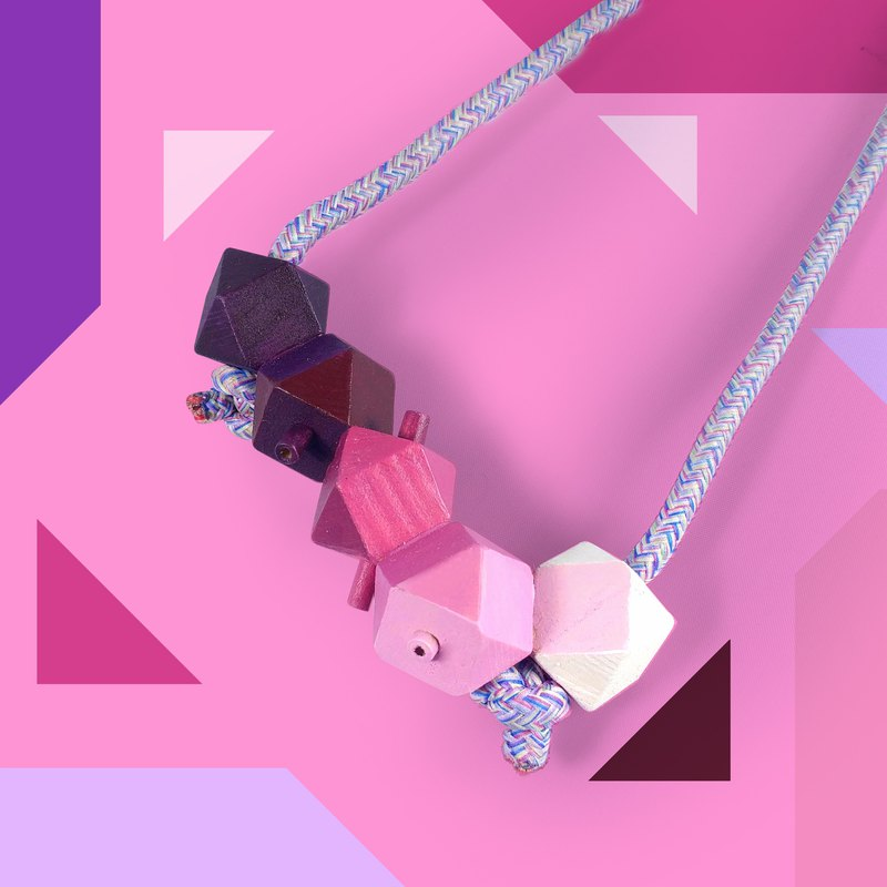 Puppets 3D stereo purple gradient purple rope necklace necklace