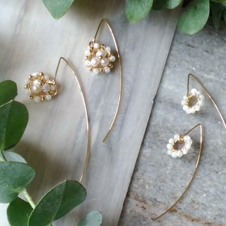 Hand-woven natural beaded long ear pin 14K gold earrings