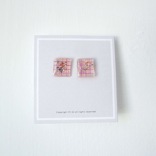 Earrings pink yellow grid