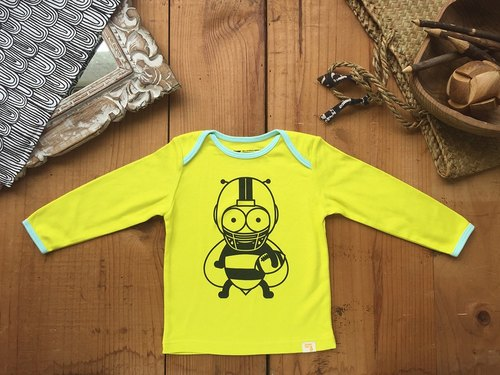 American football small bee AMERICAN FOOT BAL TEE long-sleeved clothing international GOTS certified organic cotton 180 woven