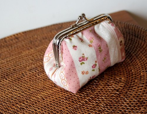 Cotton Fabric: Coin Purses, Cosmetic Bag, Pink, Straight stripes