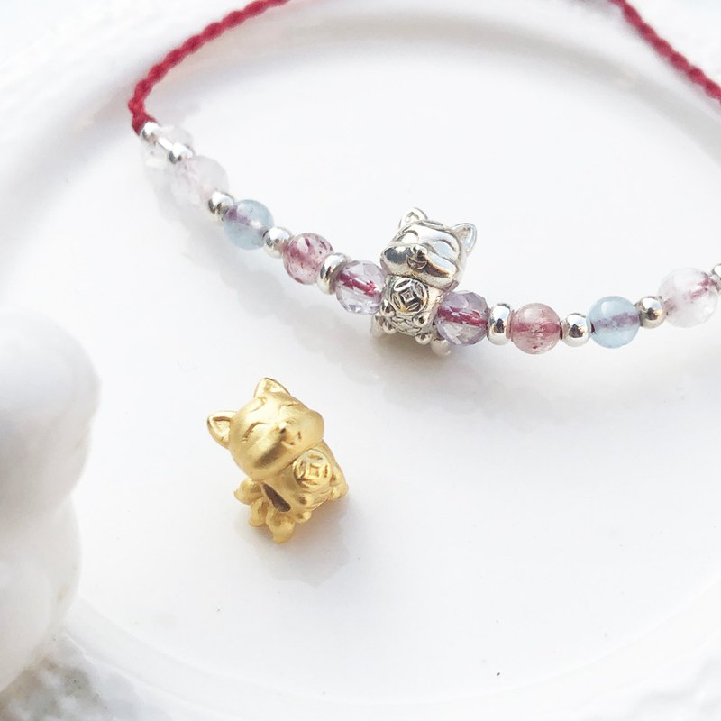 Grand Member [Handmade] Nine-Tailed Fox x Sterling Silver x Yellow Gold x Lavender Amethyst Peach Blossom Bracelet