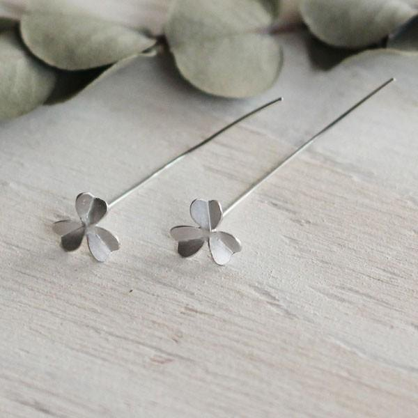 sv925 pierced leaf earrings