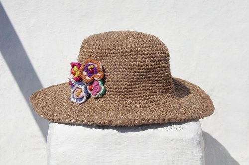 Creative gift limit a hand-woven cotton cap / knit cap / hat / visor / hat / straw hat - knit flower forest wind (Khaki)