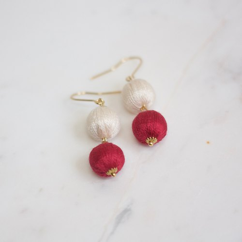 Double sauce fruit tree fruit earrings cream white red ear hook or ear clip