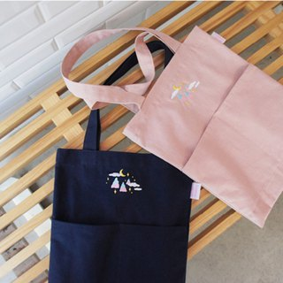 A. Strawberry Sleeping Forest Double Pocket Eco Bag - Dark Blue