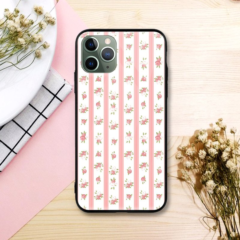 Straight Line Pink Floral Mobile Phone Case iPhone 11 Pro Max Samsung Red Rice X