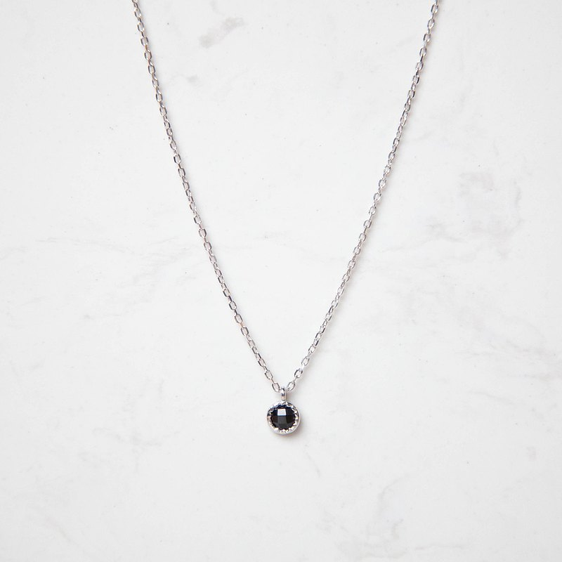 Black spinel small disc sterling silver necklace | natural stone | K gold plated. Light jewelry. Friendship. gift