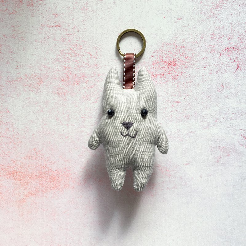 + pure gray cotton + cat key ring