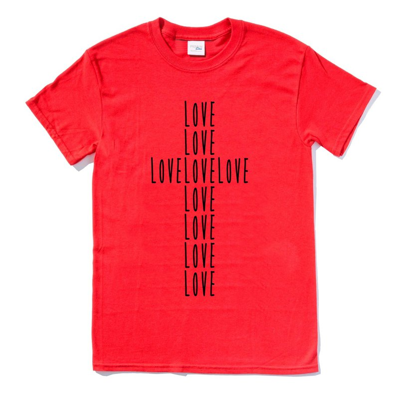 LOVE CROSS red t shirt