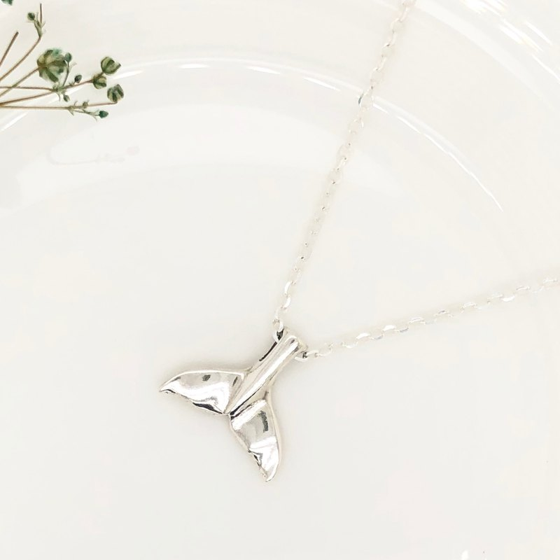 Large Whale tail s925 sterling silver necklace Birthday Valentine's Day gift