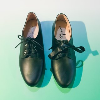 Milk candy gum base! Peng Peng enough sense of two strap shoes black - [Major Pleasure] full leather MIT Taiwan handmade