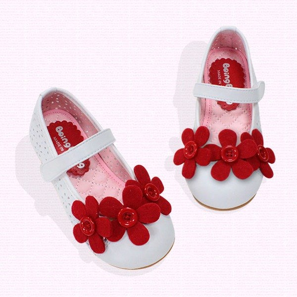 Girl doll shoes w/red flowers - white