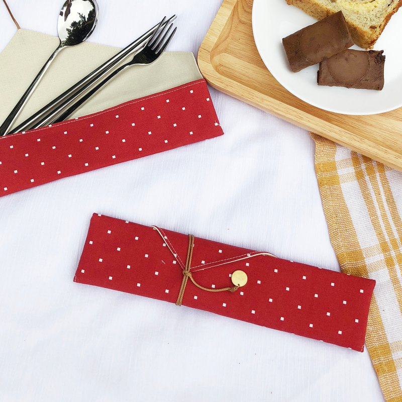 Red window cutlery set cutlery bag storage bag customized