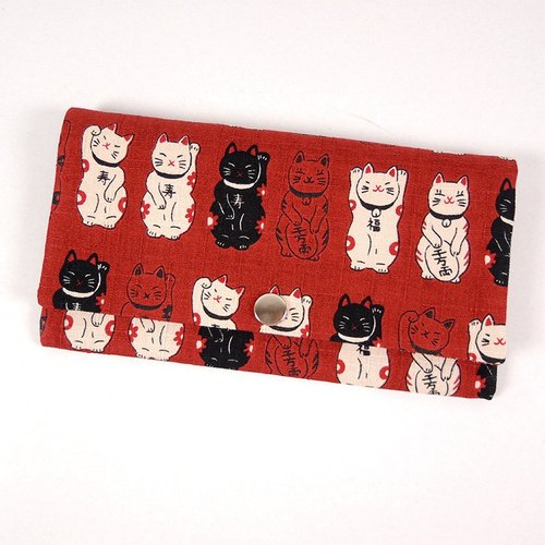 Red envelope pocketbook cash pouch - Japanese lucky cat (red)