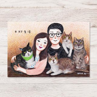 4X6 Warm memories: Portraits and hairy children's illustrations like paintings (hand-painted)