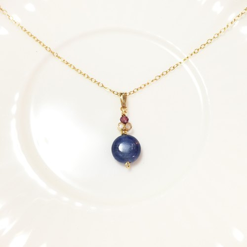 Watch Kyanite United States 14KGF Note Gold Necklace Garnet Pearl Blue Spinel