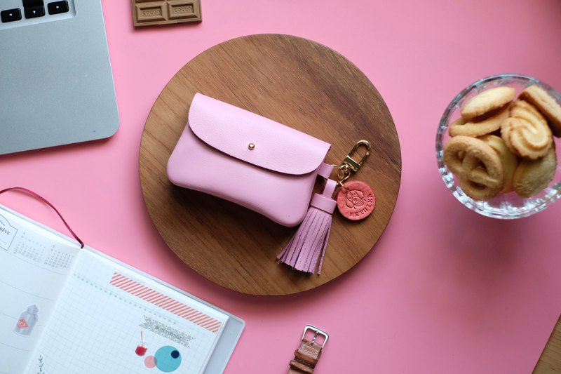 Pink woman business card holder, Pink leather case for woman, credit card wallet