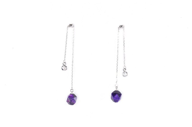 Mysterious Purple Collection - S925 Silver With Tigerite Earrings  03