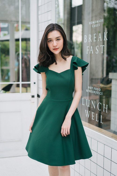 Party Dress Forest Green Dress Vinatge Style Evening Dress swing Skirt Summer