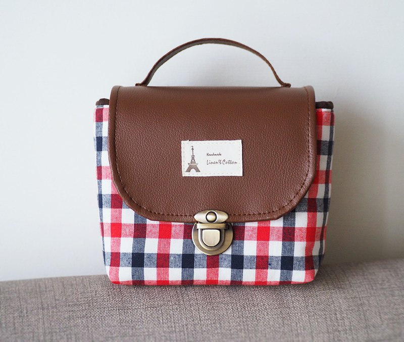 (Large camera bag) Single small single eye camera cotton camera bag (red, blue and white plaid) BZ17