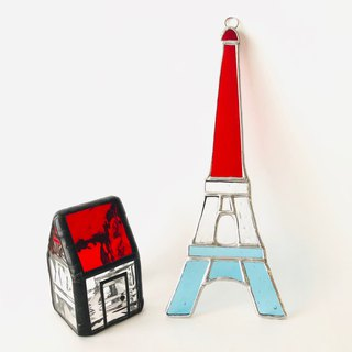 Stained glass sun catcher Eiffel tower tricolor