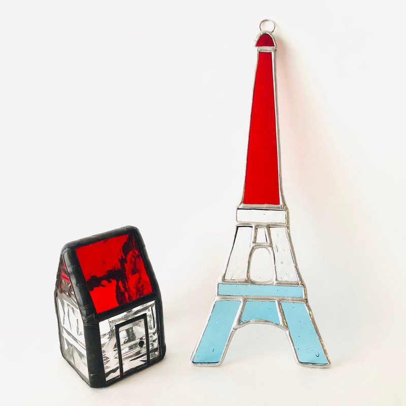 Stained glass suncatcher eiffel tower tricolor