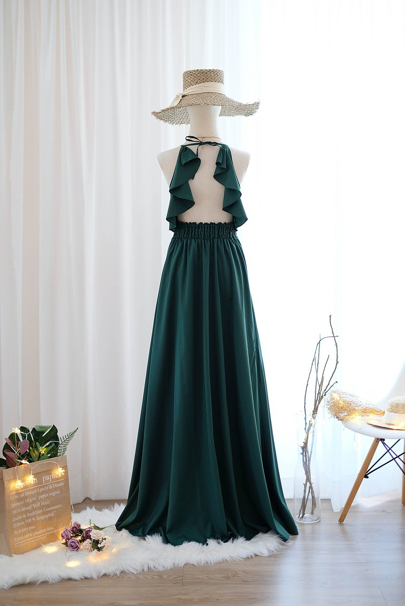Forest Green dress Long bridesmaid dress Cocktail prom party dress