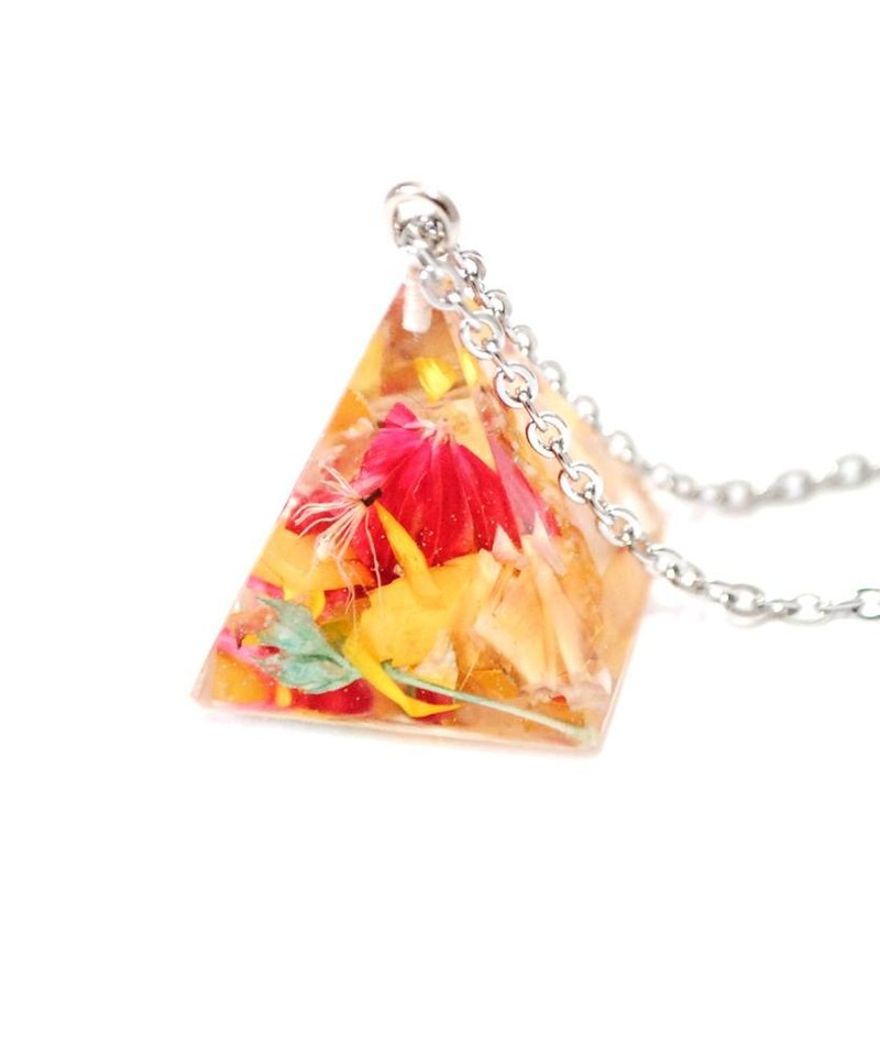 Colourful Dried Flower Necklace / Pyramid Triangle pendant / Flower In Ice