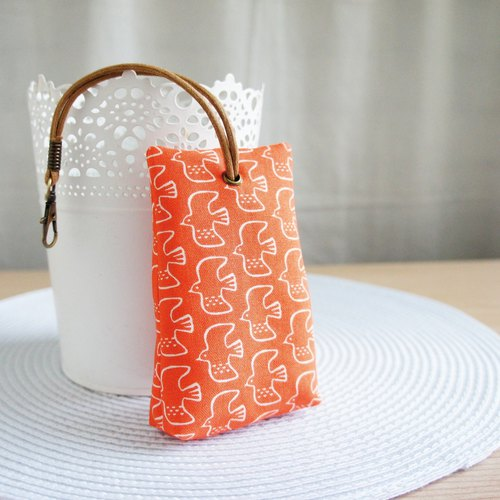 Lovely [Japanese Cotton] Flying Stereo Tea Bag Zipper Key Bag, ID Card, Orange