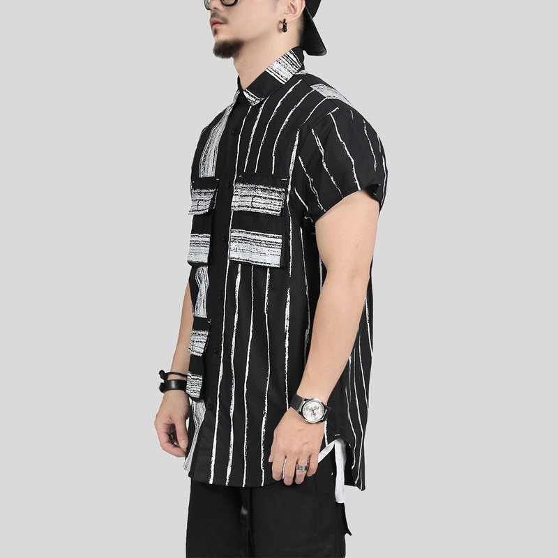 [ionism] oblique sleeve brush pocket shirt black