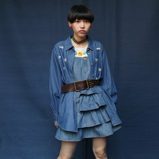 Pumpkin Vintage. Vintage embroidery denim shirt
