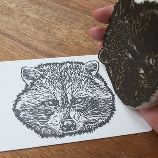 Raccoon Handprinted Postcard