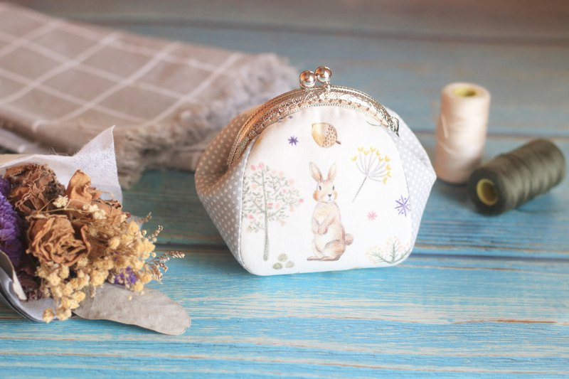 Hand made gold coin purse. Hare under the flower tree