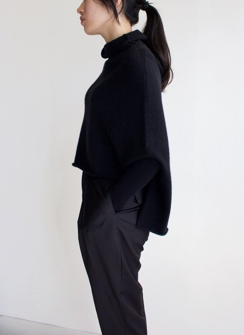 Black half-collar cardigan Kashimier (other colors can be customized)